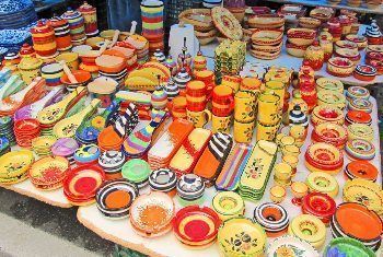 Pottery in abundance at the market.