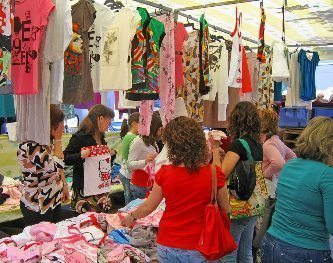 Clothes at the street markets in Spain. John Towler photos.