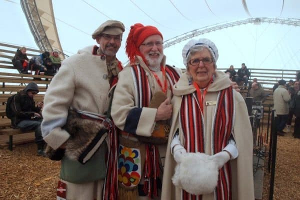 Locals dressed in their best Voyageur costumes at the Festival du Voyageurs in Winnipeg.
