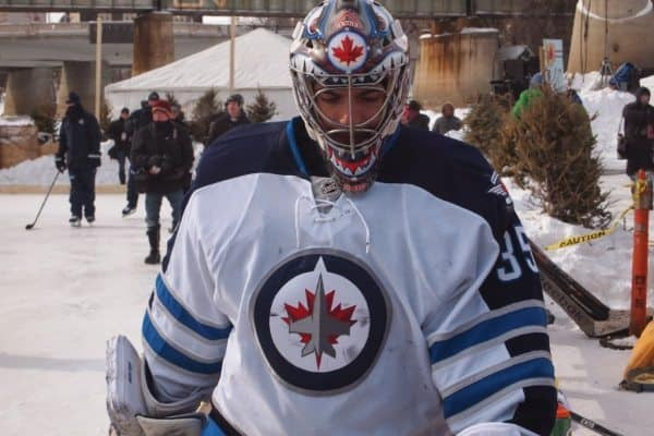 A goalie for the Winnipeg Jets during an outdoor practice on the river in Winnipeg.
