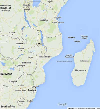 The Isle de Mozambique is located midway up the coast of Mozambique.
