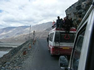 On a road in the Himalayas en route to see the Dalai Lama.