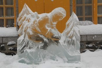Ice Sculptures dot Quebec's streets. Photo by Kathleen Broadhurst