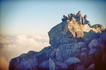 Locals hanging out at the top.