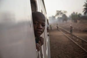 A boy on a train from Nampula to Cuamba, Mozambique.