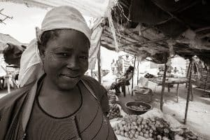 A vegetable seller in Makuti town.