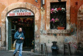 Caffe Peru, the author's regular breakfast spot in his Rome neighborhood. photos by John Henderson.