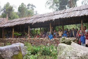 The entire community watches the dance at Mt. Gahinga Lodge