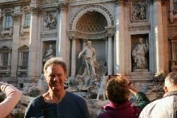 John, retiree, relaxing at the Trevi Fountain. But he lives there!