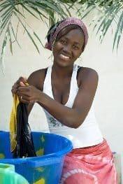 Washing clothes in Keba, Senegal.