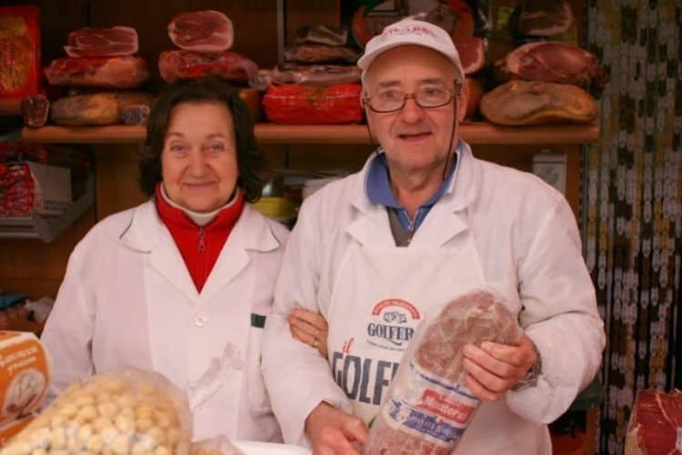 Lina and Enzo Lazzerini the neighborhood butcher shop.