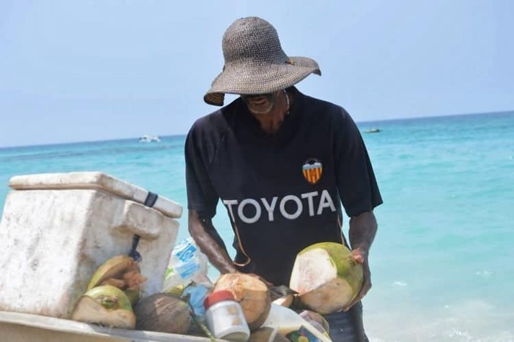 Coconuts in the speedboat near Cartagena Colombia.
