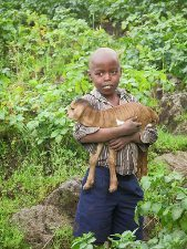 A Ugandan boy in a field.