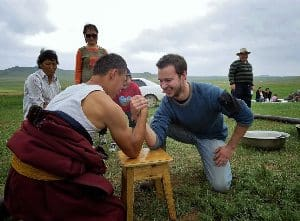Arm wrestling with a Mongolian herder. photos by Peter Bittner.