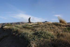Hiking the desolate island.