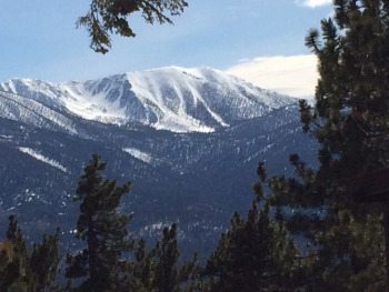 San Gorgonio mountain from the top of Snow Summit resort in Big Bear Lake, California. photos by Max Hartshorne.