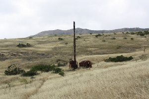 An abandoned oil well on Santa Cruz.