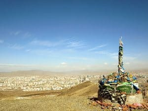 An ovoo looking over the capital city of Ulaanbaatar.