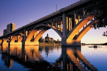 A dramatic bridge over the river.