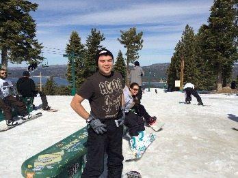 Skiers enjoy the 60 degree temps on Snow Summit in Big Bear Lake California.
