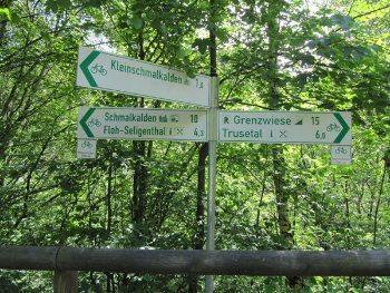 Signs in the forest.