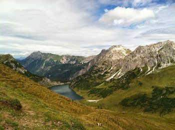 Descending to Tapppenkarsee hut in the Austrian Alps.