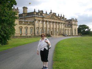 Grandma outside Harewood, a magnificent estate near Leeds.