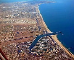 An aerial view of Marina del Rey, south of Los Angeles and close to LAX.