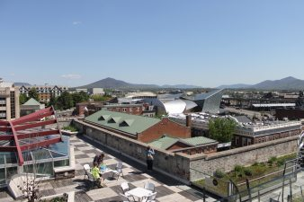 A view of Roanoke and the Blue Ridge Mountains from the top of Center in the Square