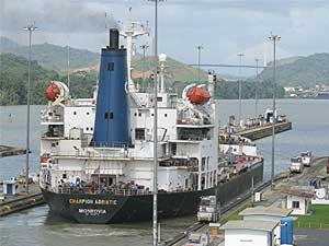 Leaving Miraflores, Panama Canal. David Rich photo.