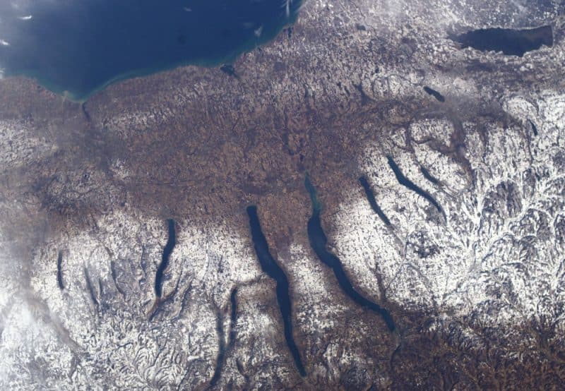 New York's Finger Lakes from the sky.