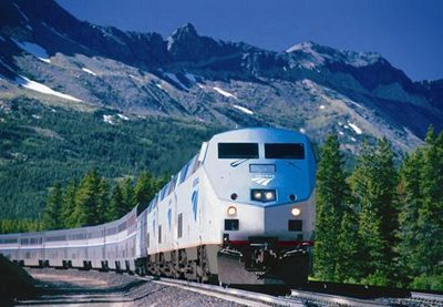 Amtrak locomotive pulls a train in the Western US.