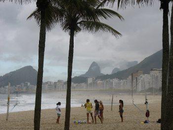 Beach scene Copacabana Beach in Rio. photos by Marilynn Windust.