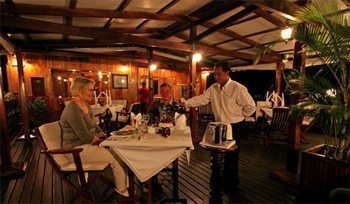 Dining on deck in Borneo.