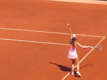 Maria Sharapova serves at the 2014 French Open in Paris.