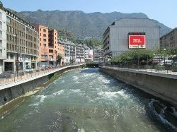 The Novotel-Andorra hotel has a rushing river right next to it.