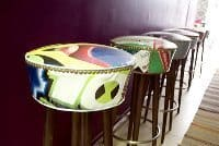 Stools made from recycled materials at the hostel.