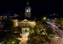 Athens City Hall at night.