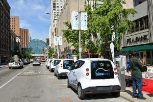 Blue Indy rental electric cars. Blue Indy photo.