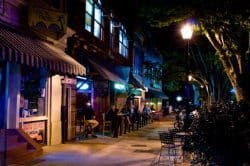 College Avenue in Athens by night.