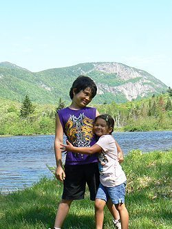 Brother and sis in the White Mountains.