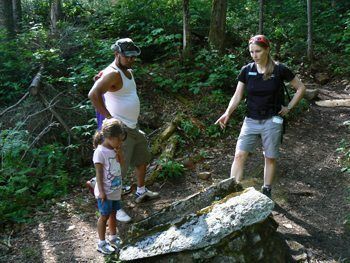 A guided hike with guide Sarah at Highland Lodge.