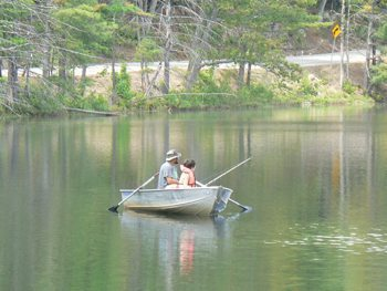 Fishing at Purity Springs Resort in New Hampshire's White Mountains. Kate Hartshorne photo.