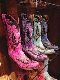 Lucchese boots on display.
