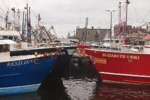 Fishing vessels in New Bedford harbor.