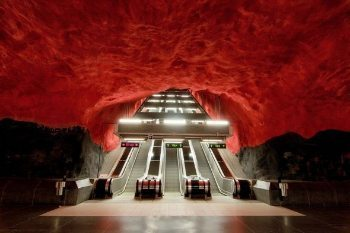 Stockholm's subways are filled with beautiful artwork.