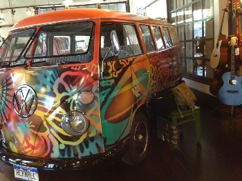 Two Old Hippies features a VW Bus inside the store.