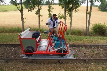 Velorail of Armagnac is a pedal-powered platform to ride on railroad tracks.