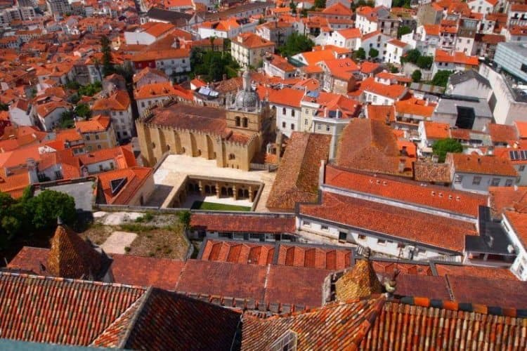 Overlooking the river and the rooftops high above Coimbra, Portugal.