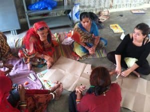 Meeting in Munnar to review new fabrics created by local women. photos by Stacey Cunningham.